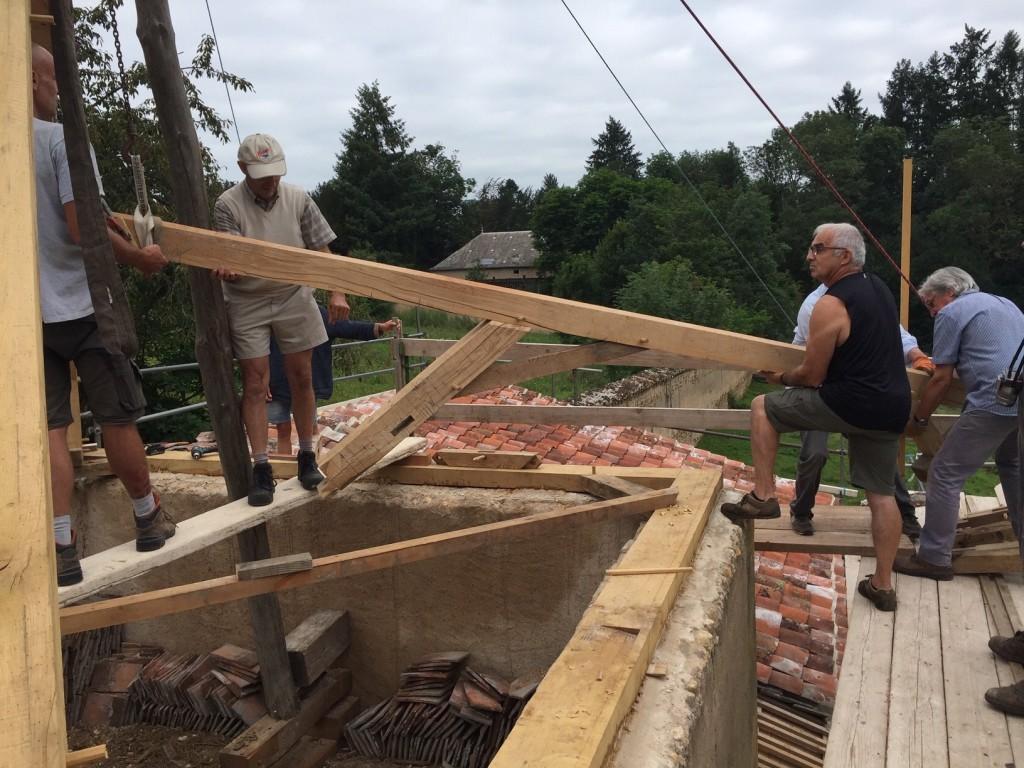 chantier st martin pose de la charpente 30 juillet
